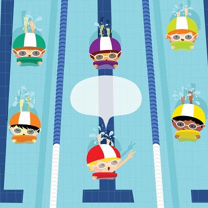 Swim race. Kids swimming. Illustration vector cartoon