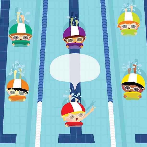 Swim race. Kids swimming. Illustration vector cartoon vector art illustration
