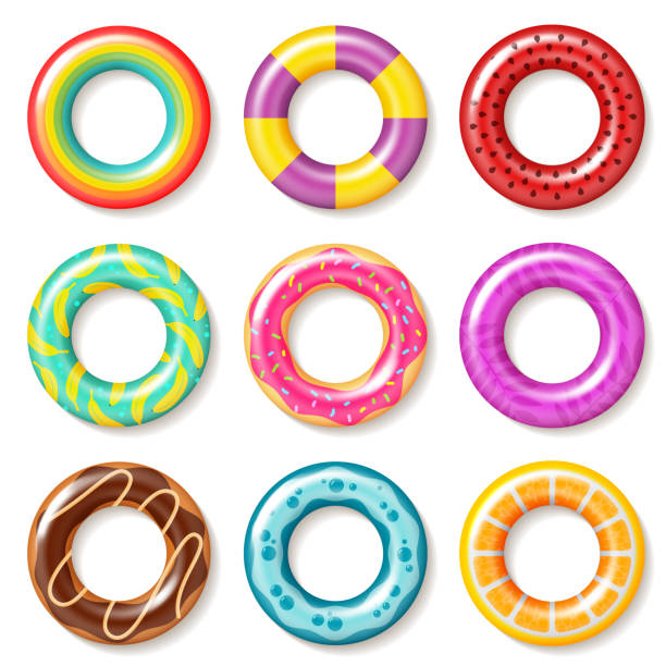ilustrações de stock, clip art, desenhos animados e ícones de swim rings. swimming ring colorful buoy pool kids float inflatables toys beach children lifesaver summer realistic vector collection - bebé praia