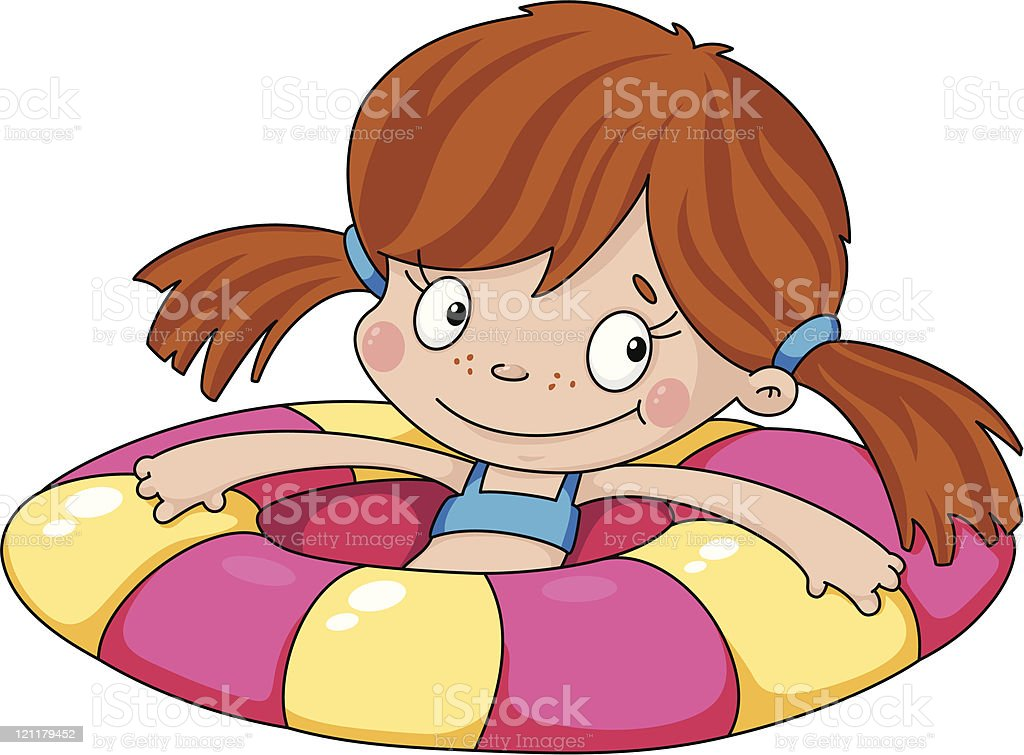 swimmer funny girl royalty-free stock vector art