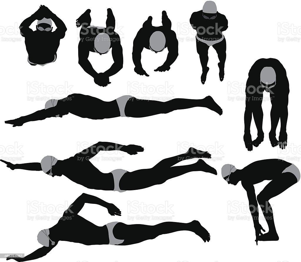 Schwimmer in Aktion – Vektorgrafik