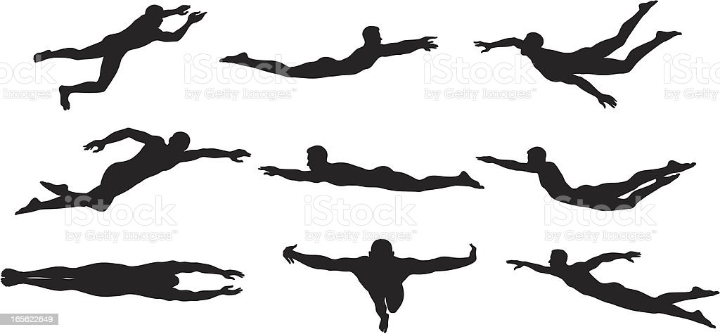 Swimmer Sihouettes vector art illustration