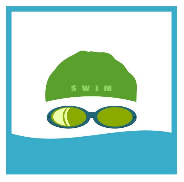 swimmer swimmer wearing cap and goggles swimming goggles stock illustrations