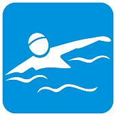 Swimmer, white silhouette of man on blue frame, eps