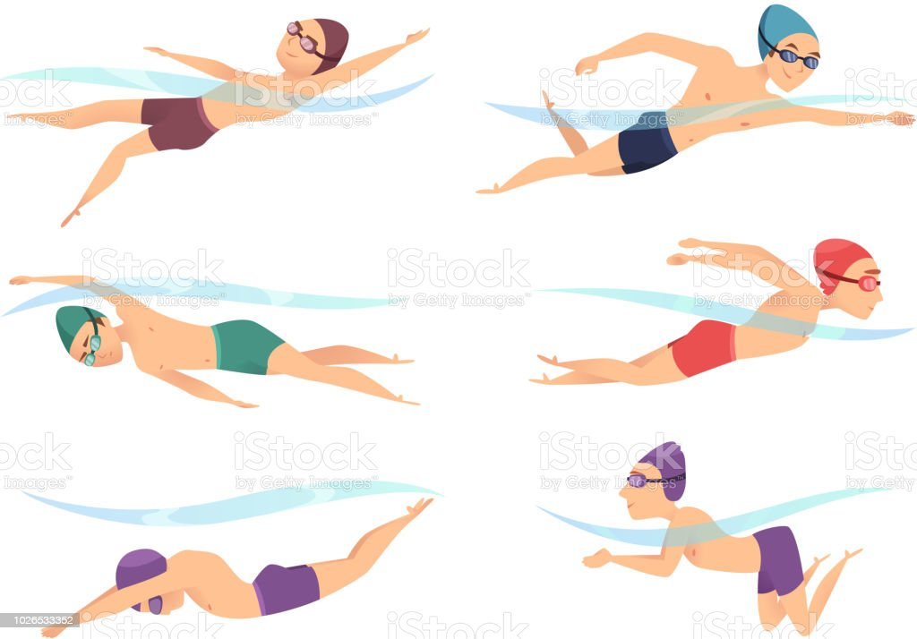 Swimmers at various poses. Cartoon sport characters in poll action poses vector art illustration