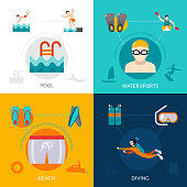 Swimming design concept set with water sports flat icons isolated vector illustration