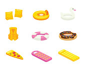 Swimming accessories vector illustrations set. Inflatable children accessory for pool cliparts pack. Colorful rings in various shapes, rubber air mattress in form of pizza slice, swim vest, arm floats