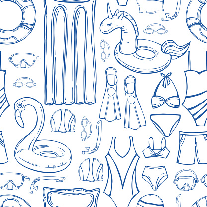 Swimming accessories. Vector pattern.