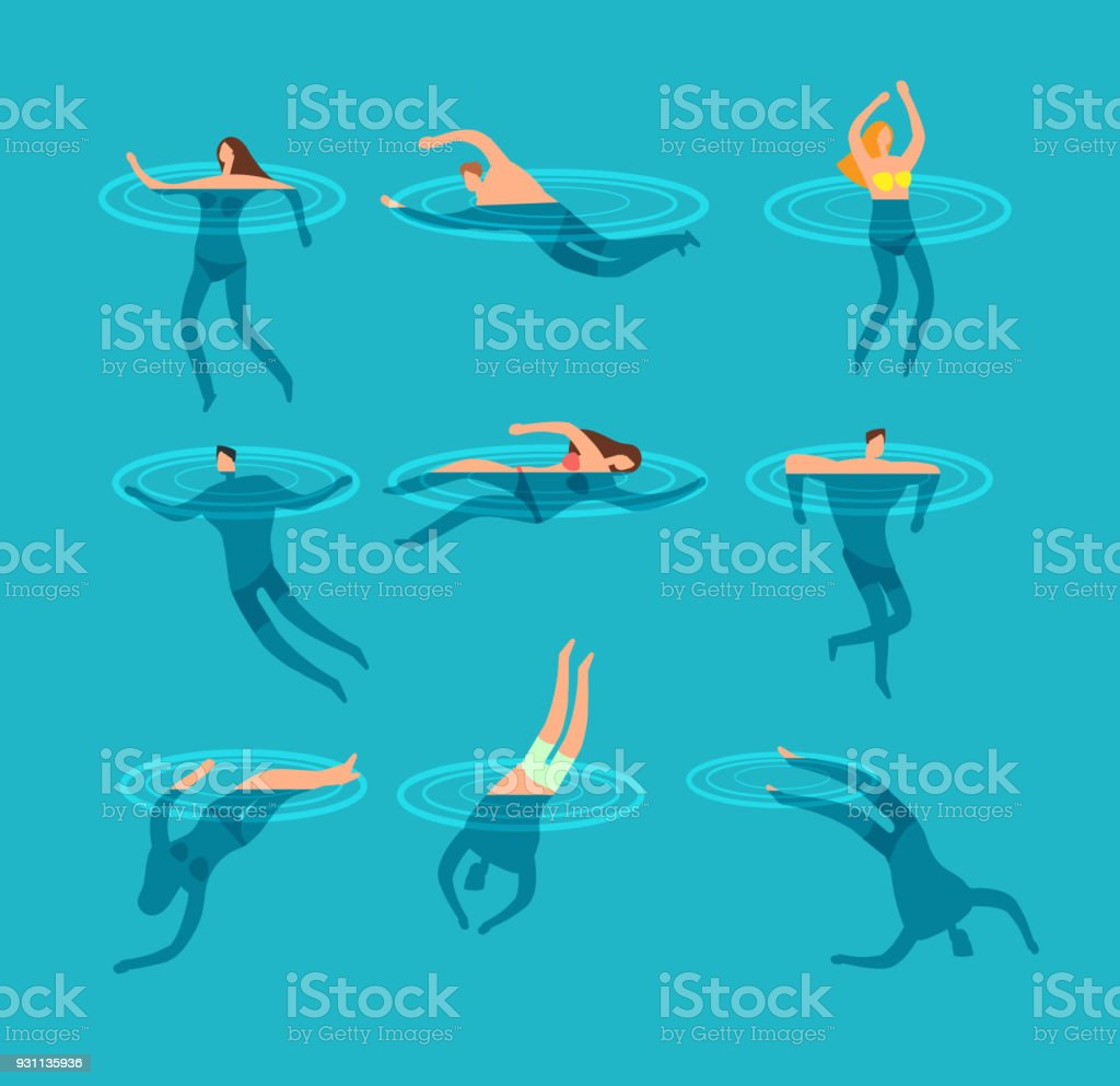 Swimming and diving people in swimming pool cartoon vector illustration vector art illustration