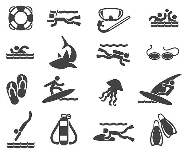 Swimming and scuba diving icons Sea Beach Swimming Pictograms. Swimming and scuba diving icons. Vector illustration diving into water stock illustrations