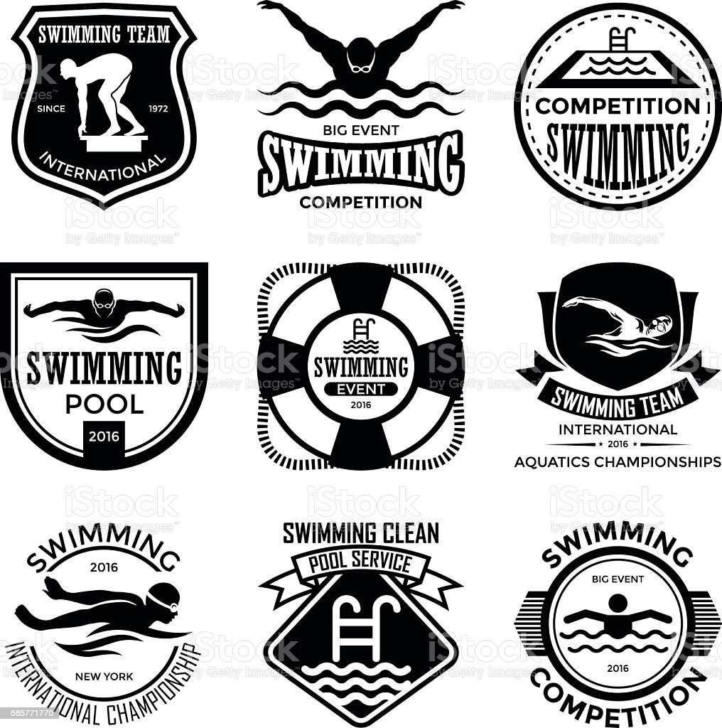 Swimming Badges vector art illustration