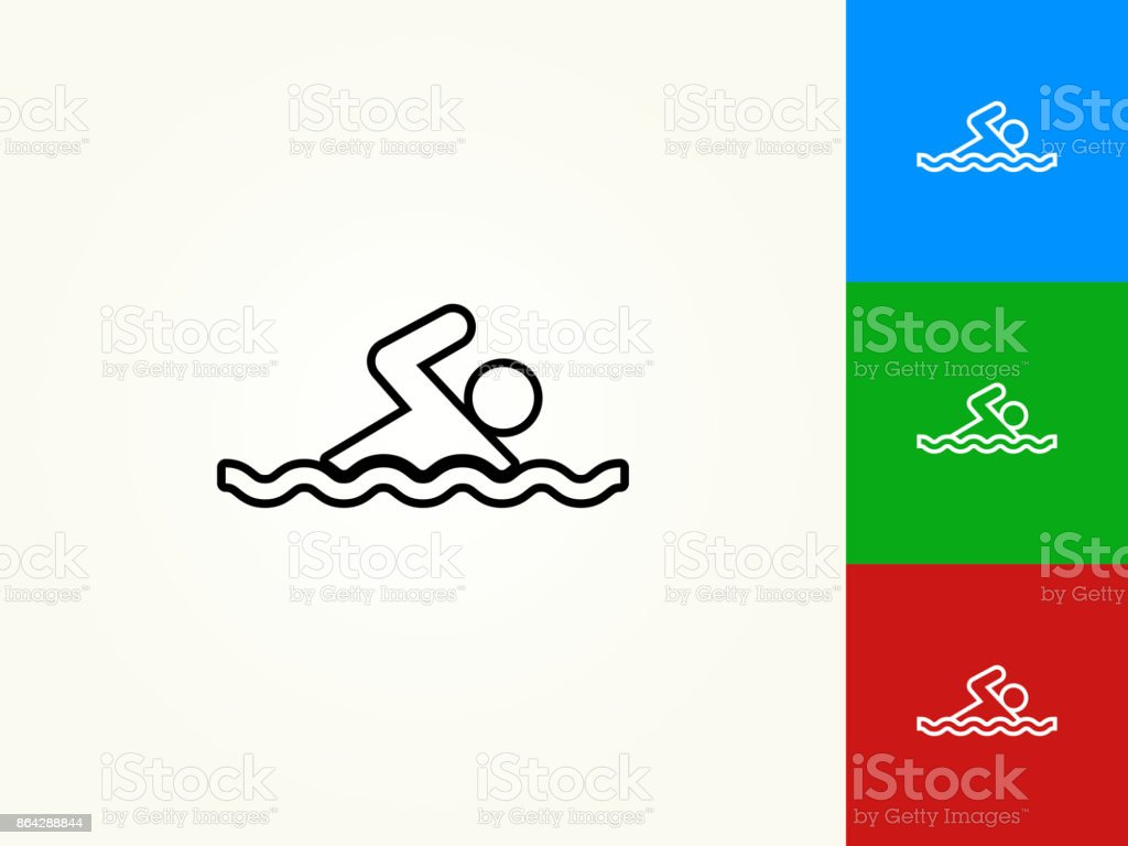 Swimming Black Stroke Linear Icon royalty-free swimming black stroke linear icon stock vector art & more images of black color