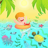 Sea Creatures paradise vacation island and cute child baby boy swim with ring in the ocean with sea creatures. Watercolor style cartoon.