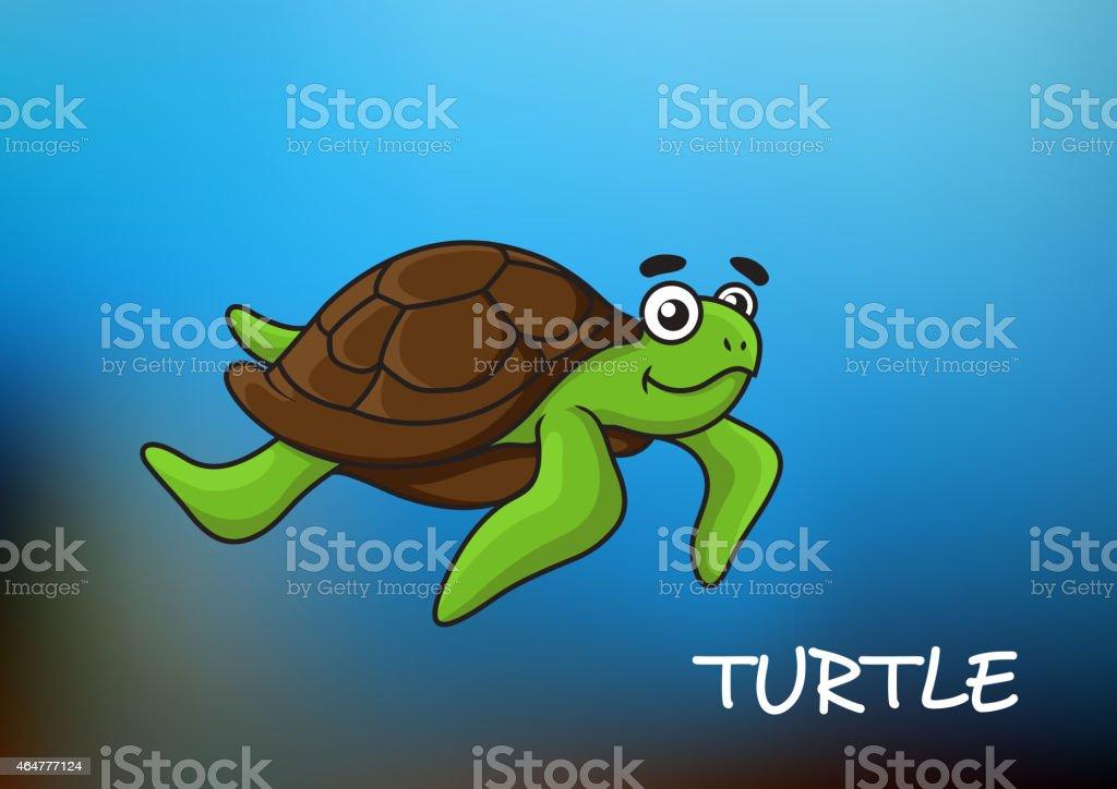 Swimming Cartoon Sea Turtle Stock Illustration Download Image