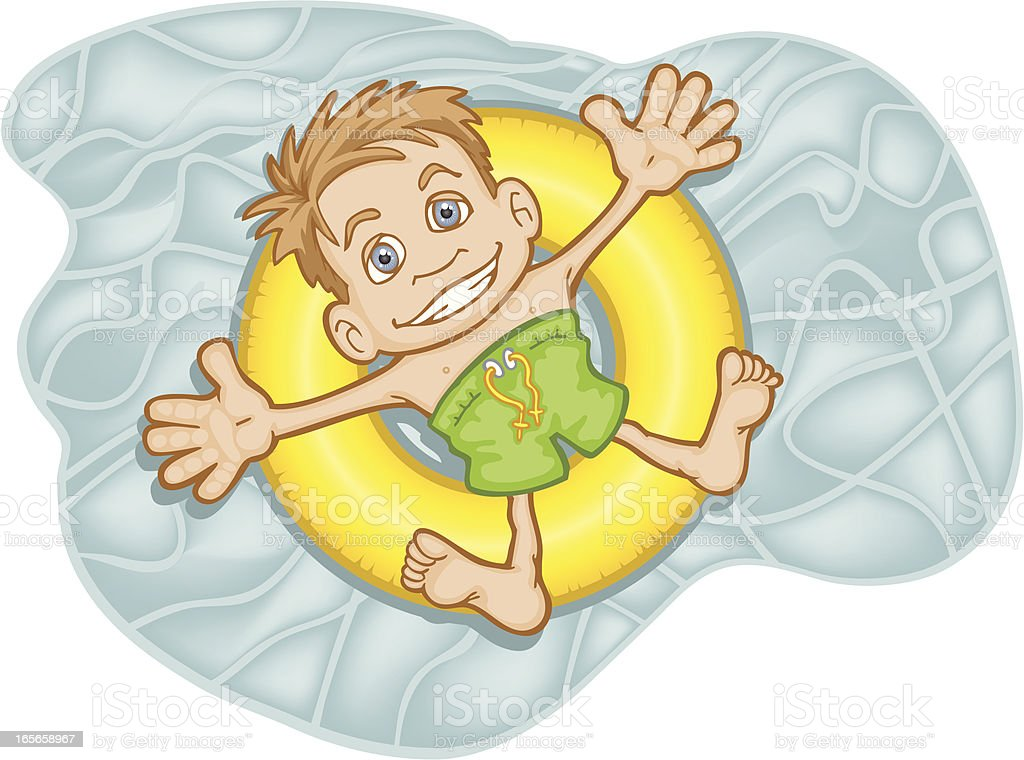 Swimming Caucasian Boy royalty-free stock vector art