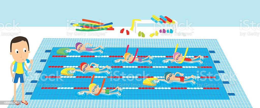 Swimming class Kids having a swimming lesson in indoor pool Swimming stock vector