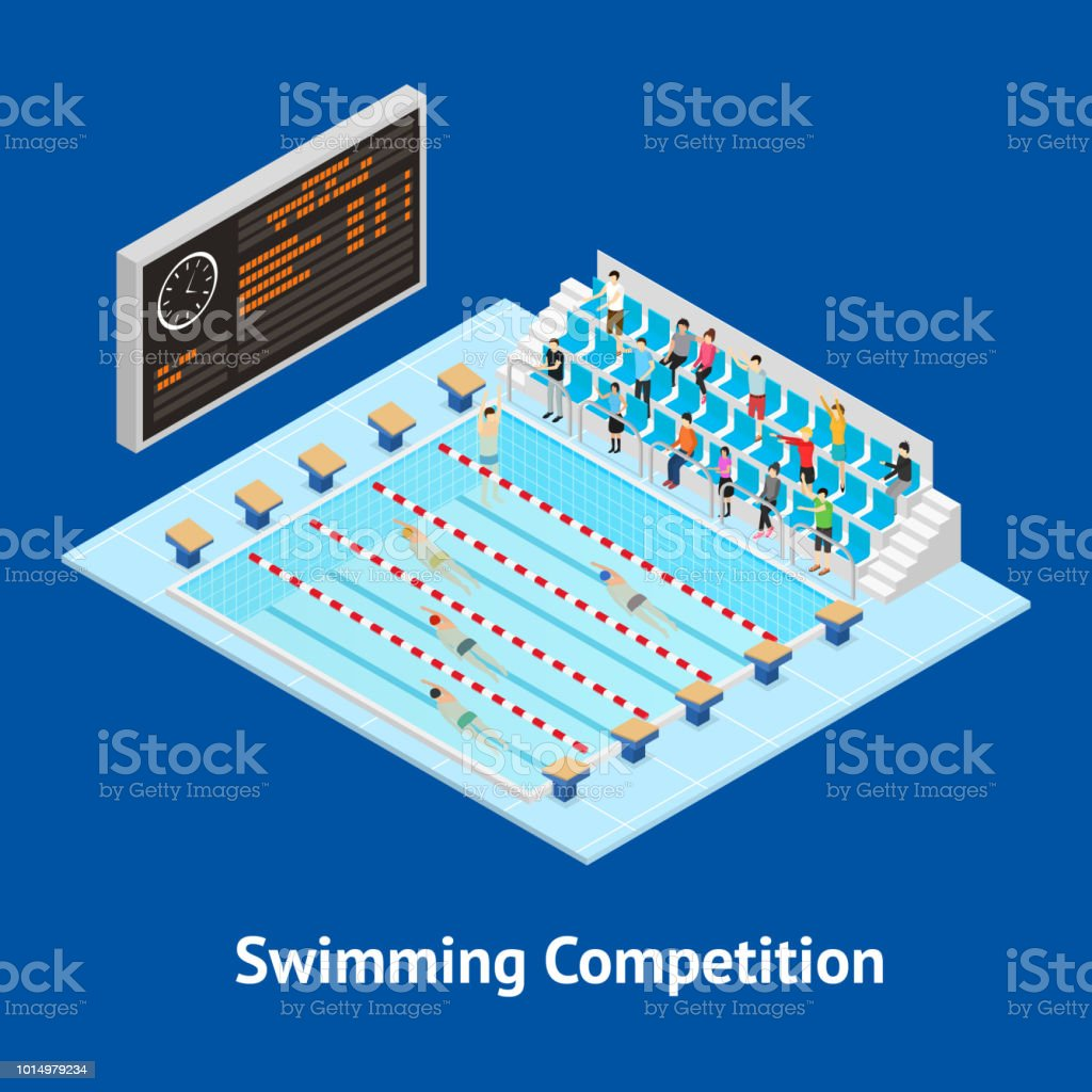 Swimming Competition Concept Card 3d Isometric View. Vector vector art illustration