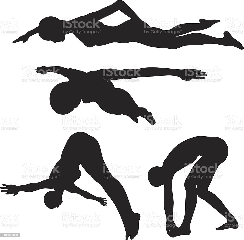 Swimming - Diving Silhouette collection (vector+jpg) vector art illustration
