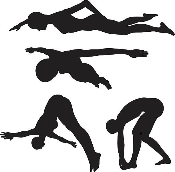 競泳-ダイビングシルエットコレクション(ベクトル jpg - 水泳点のイラスト素材/クリップアート素材/マンガ素材/アイコン素材