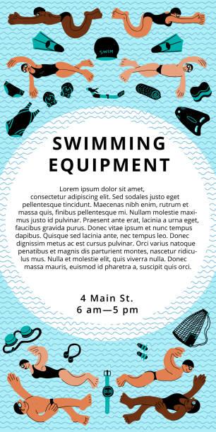 bildbanksillustrationer, clip art samt tecknat material och ikoner med simning utrustning vertikala flygblad - black woman towel workout