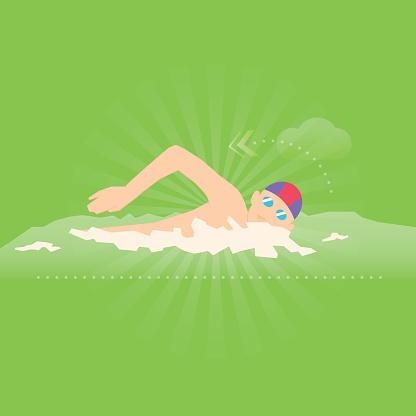 Swimming exercise flat design illustration