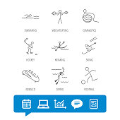 Swimming, football and skiing icons. Ice hockey, diving and gymnastics linear signs. Kayaking, weightlifting and bobsleigh icons. Report file, Graph chart and Chat speech bubble signs. Vector