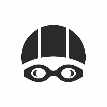 Swimming goggles and swimming cap icon.