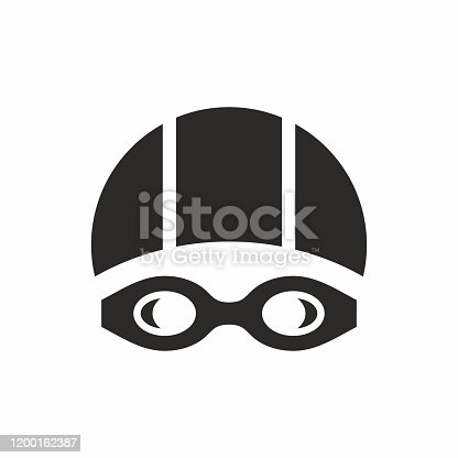 istock Swimming goggles and swimming cap icon. 1200162387