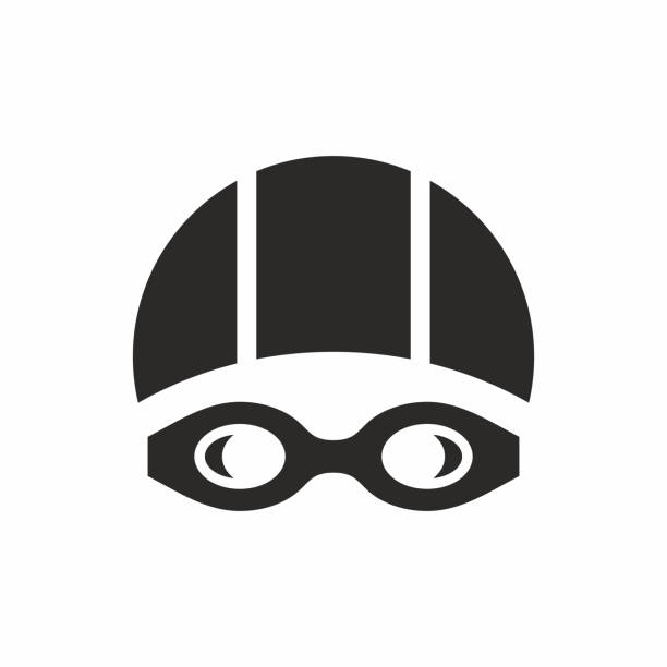Swimming goggles and swimming cap icon. Vector icon isolated on white background. swimming goggles stock illustrations