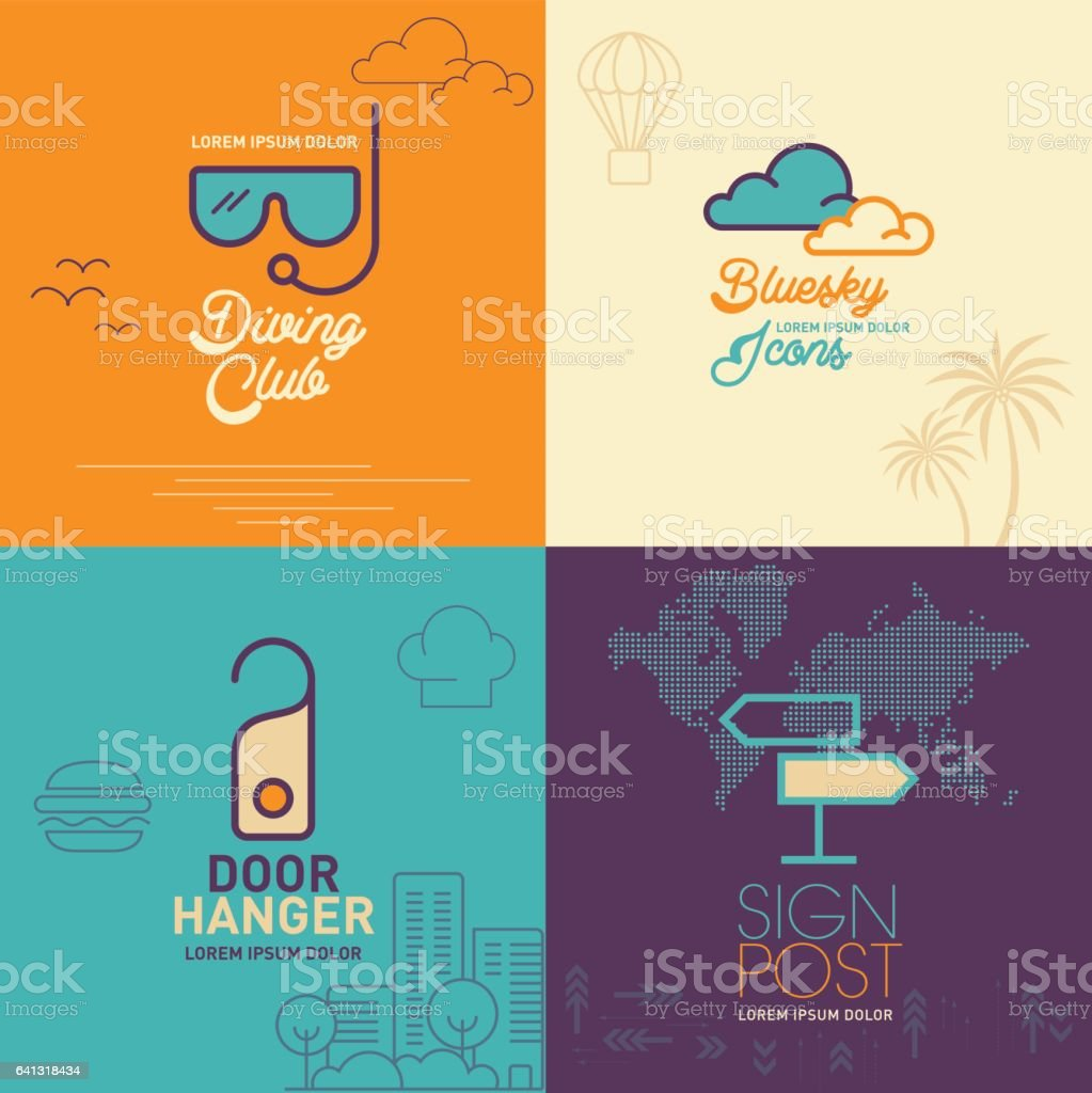 Swimming Goggles flat icon, clouds flat icon, door hanging flat icon, signpost with word map flat icon vector art illustration