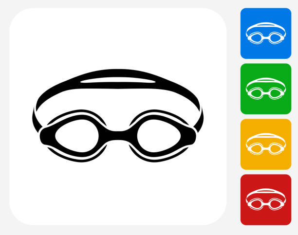 Swimming Goggles Icon Flat Graphic Design Swimming Goggles Icon. This 100% royalty free vector illustration features the main icon pictured in black inside a white square. The alternative color options in blue, green, yellow and red are on the right of the icon and are arranged in a vertical column. swimming goggles stock illustrations