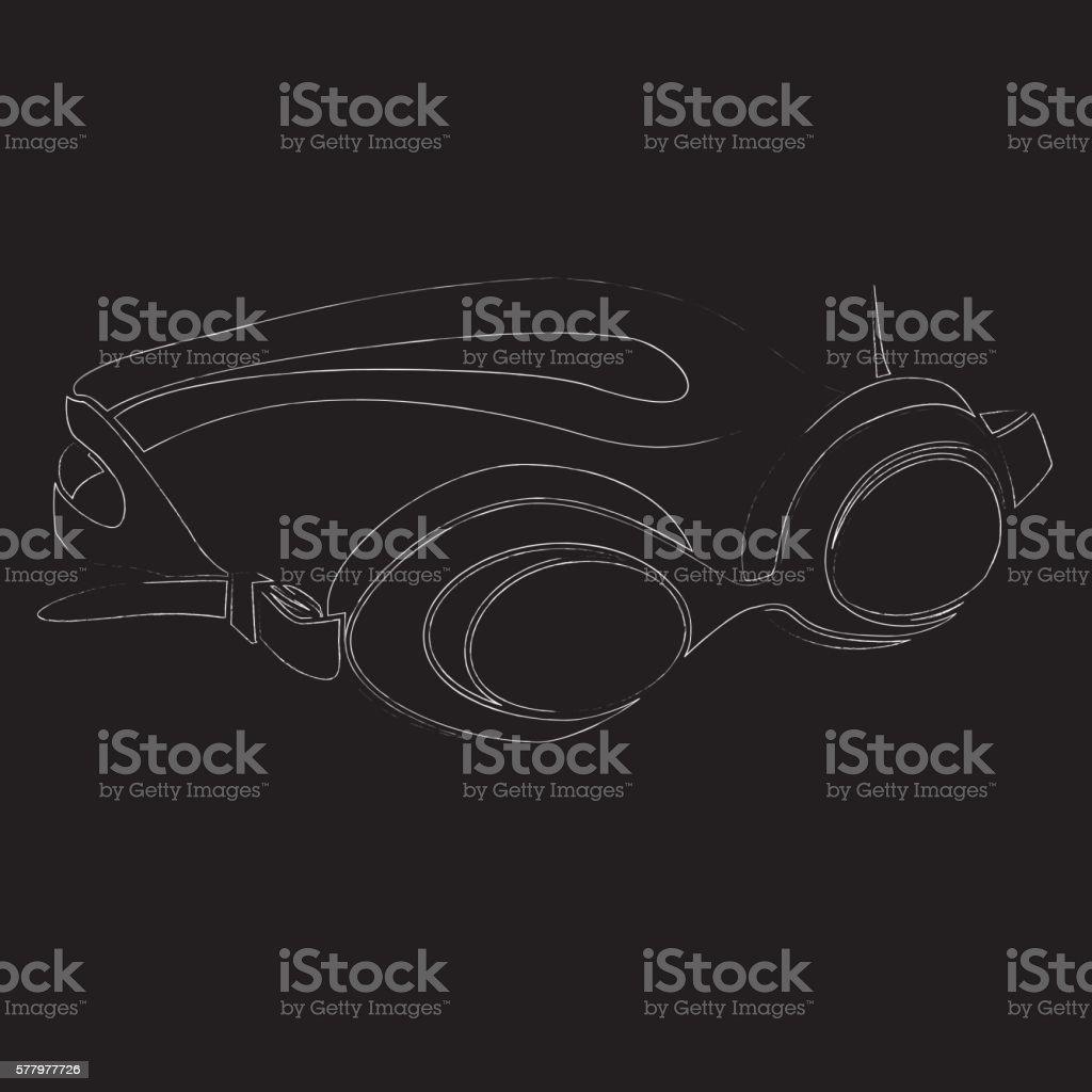 Swimming goggles vector art illustration