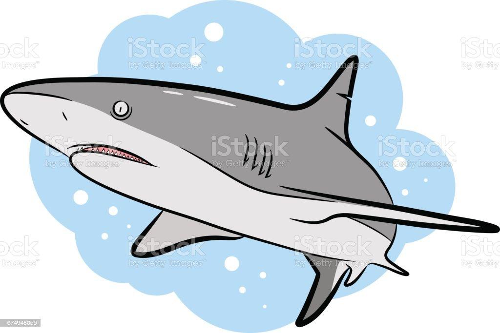 Swimming Grey Shark Vector Cartoon vector art illustration