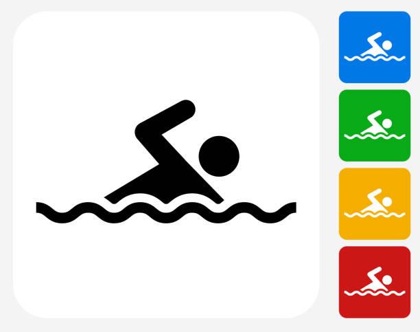 のグラフィックデザインアイコンフラット - 水泳点のイラスト素材/クリップアート素材/マンガ素材/アイコン素材