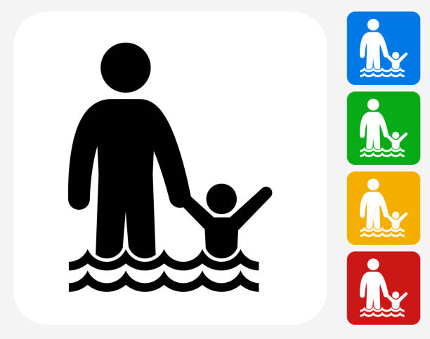 Swimming Icon Flat Graphic Design Swimming Icon. This 100% royalty free vector illustration features the main icon pictured in black inside a white square. The alternative color options in blue, green, yellow and red are on the right of the icon and are arranged in a vertical column. wading stock illustrations