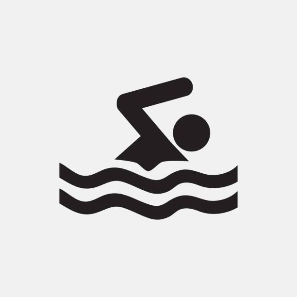 ilustraciones, imágenes clip art, dibujos animados e iconos de stock de ilustración del icono de natación - natación