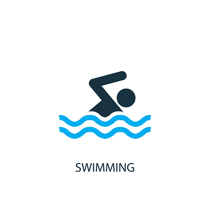 Swimming icon. Logo element illustration. Swimming symbol design from 2 colored collection. Simple Swimming concept. Can be used in web and mobile.