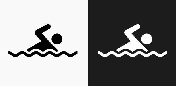 Swimming Icon on Black and White Vector Backgrounds vector art illustration