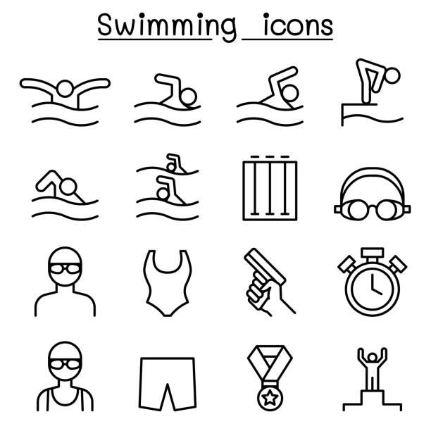 illustrations, cliparts, dessins animés et icônes de jeu d'icônes de natation dans le style de ligne fine - natation