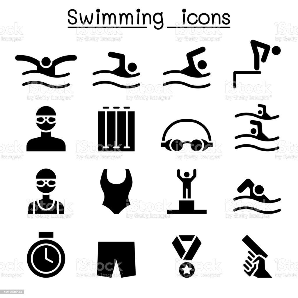 Conception graphique de natation icon set vector illustration conception graphique de natation icon set vector illustration vecteurs libres de droits et plus d'images vectorielles de bonnet de bain libre de droits