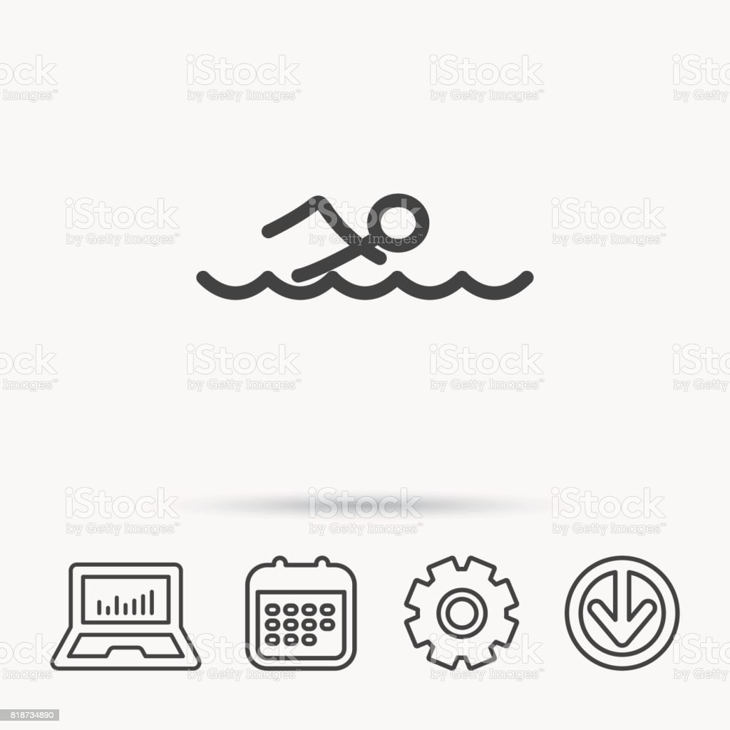 Swimming icon. Swimmer in waves sign. vector art illustration