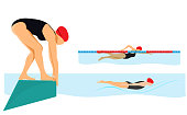 istock Swimming in the pool with  different styles.Ready to jumping in the water. 1310759832