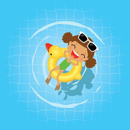 Swimming in the swimming pool