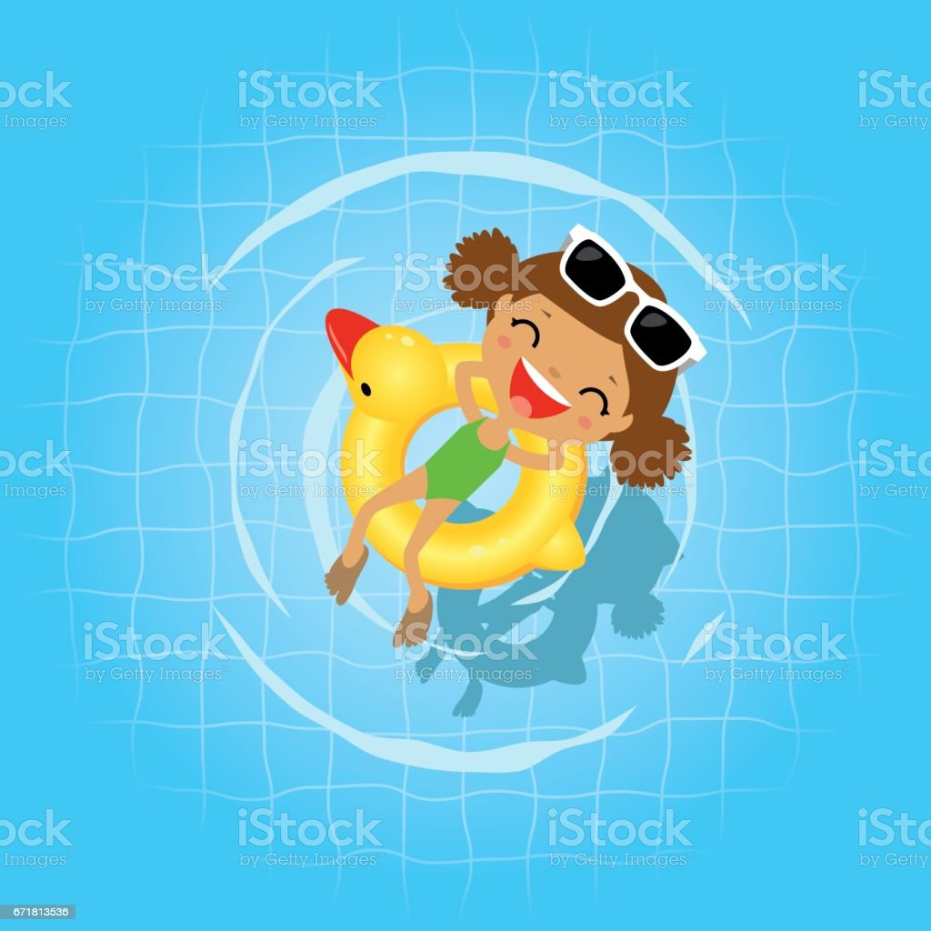 Swimming in the swimming pool vector art illustration