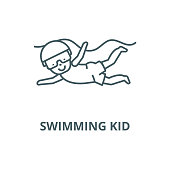 Swimming kid vector line icon, linear concept, outline sign, symbol