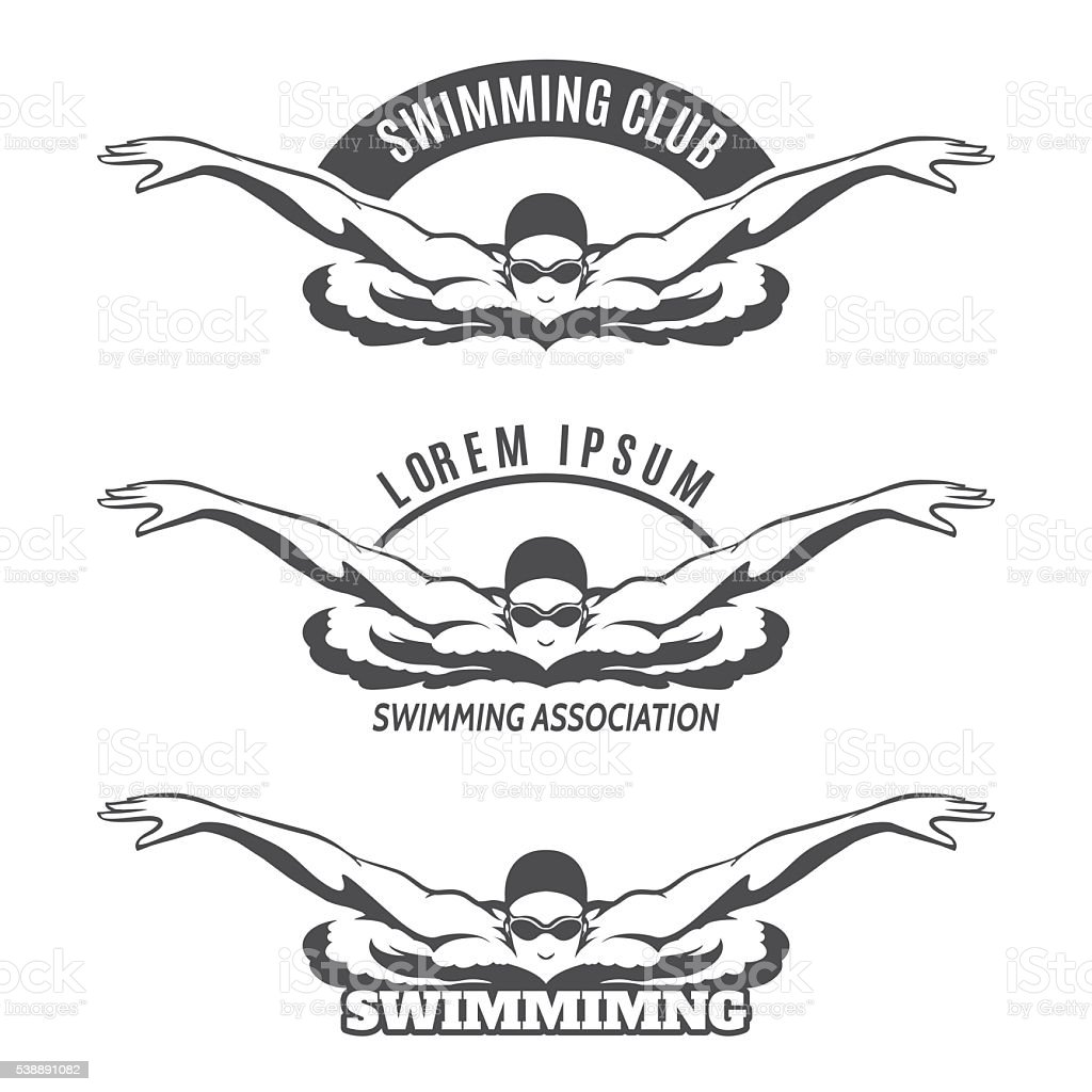 Swimming man on wave logo vector art illustration