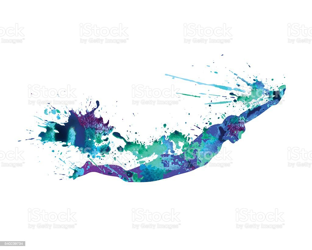 Swimming man. Splash paint vector art illustration