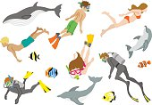 Swimming people and Marine life set