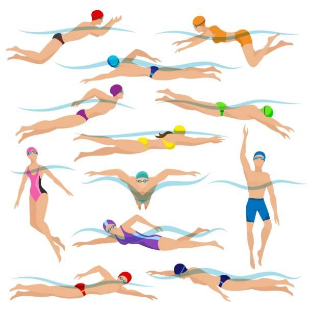 ilustraciones, imágenes clip art, dibujos animados e iconos de stock de natación personas en poses de acción - natación