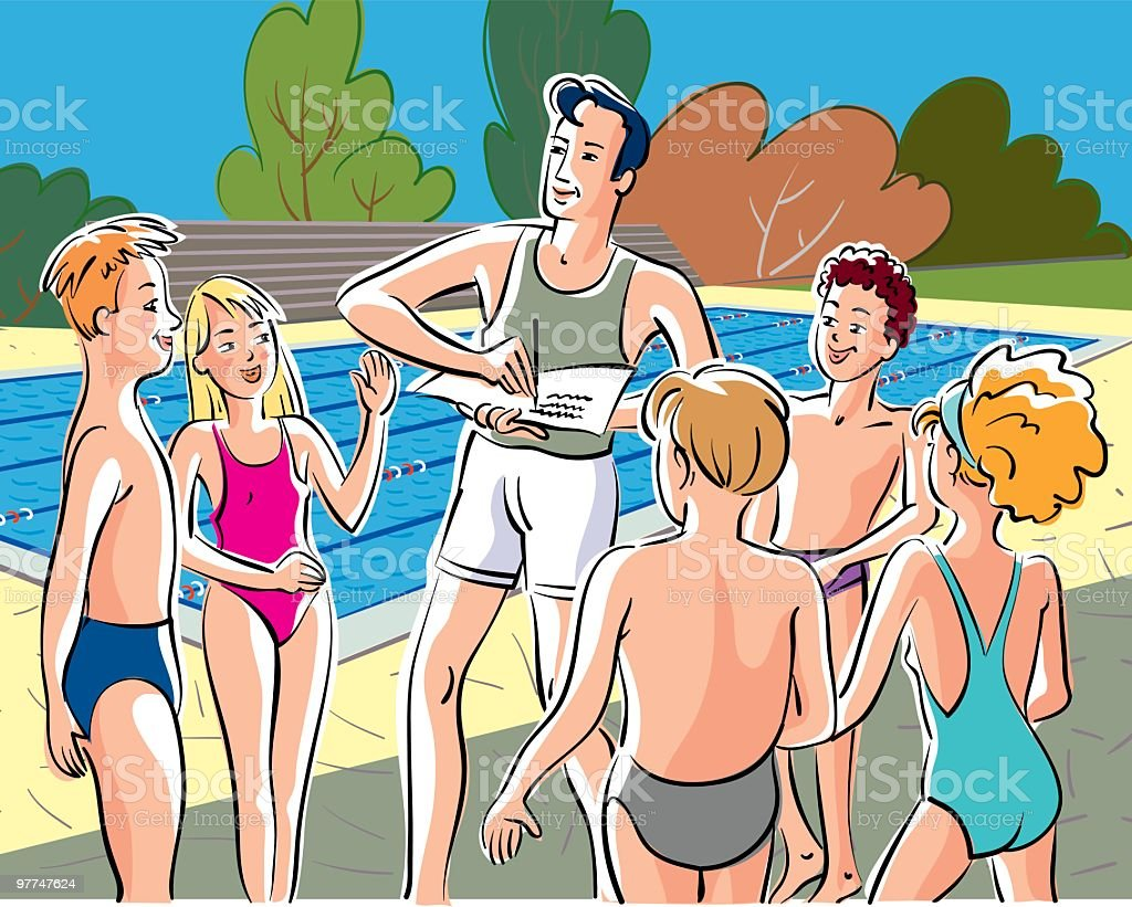 swimming pool and children royalty-free swimming pool and children stock vector art & more images of adult